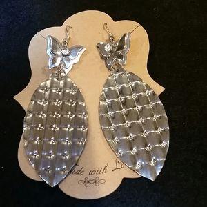 Silver tone vintage butterfly earrings